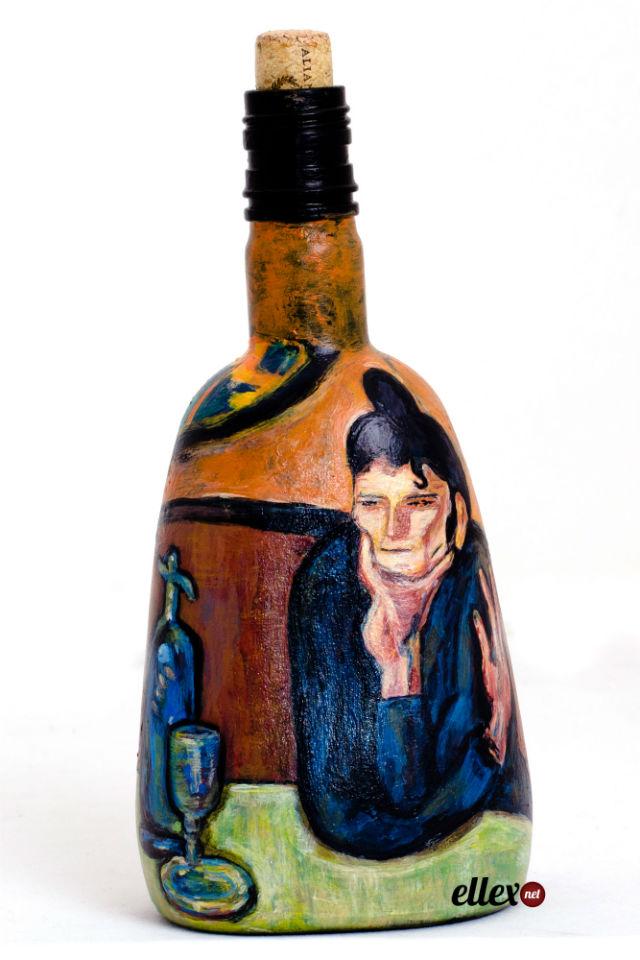 Как красиво расписать бутылку красками